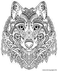 Print Cute Wolf Adult Mandala Grown Up Coloring Pages Free Printable