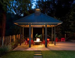 Covered Fire Pit Ideas Patio Transitional With Gas Fire Pit Red Outdoor Chairs Outdoor Seating Fire Pit Backyard Backyard Covered Patios Fire Pit Patio