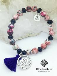 gorgeous bracelet with lotus flower charm yoga new age crystal healing