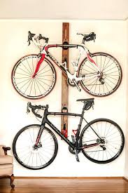 bike hanger rack horizontal wall mount adjustable double for home or apartment red oak and diy