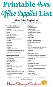 home office items. free printable home office supplies list items