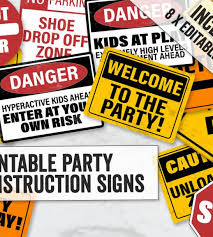 Printable Construction Signs Construction Party Signs Printable Editable Construction Party Signs Caution Kids Party Signs