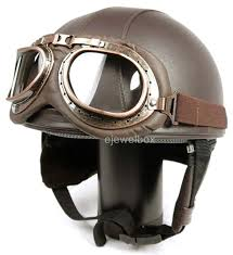 hanmi global leather helmet vintage style with goggles