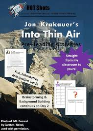 best teaching into thin air images  into thin air by jon krakauer pre reading activities