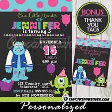 Monsters Inc Party Invitation Card Girls Personalized D3