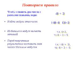 Урок по математике в классе Сложение и вычитание положительных  Затем решают примеры на применение каждого из этих правил Слайды 4 9