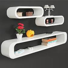 cube wall shelf set of 3 white red