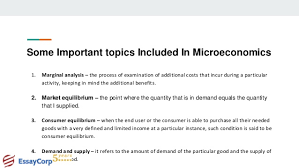 microeconomics assignment help homework help examples essaycorp 4 some important topics included in microeconomics