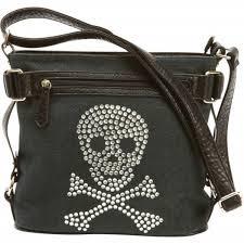 add to my lists diamond plate womens rhinestone skull leather shoulder carry purse