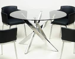 Round Clear Glass Dining Table With Chrome Crossed Legs Jacksonville