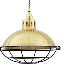 chester vintage factory style gold polished brass cage pendant light