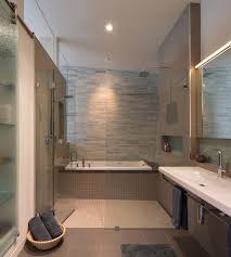 bathtub shower combo Bathroom Contemporary with bathtubshower combo beige  tile. Image by: McElroy Architecture AIA