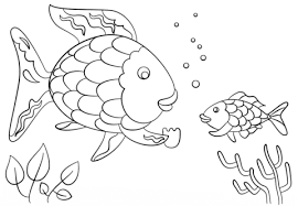 rainbow fish gives a precious scale to small fish coloring page rainbow fish template
