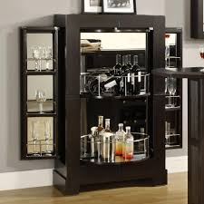 furniture modern black mirrored home bar cabinet with wine glass