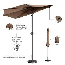 9 ft steel market half patio umbrella