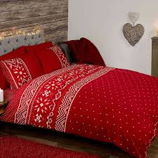 com nordic uk king size duvet cover and pillowcase set red home kitchen