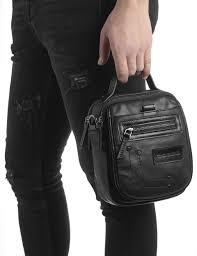 Charles Black Leather Men's Shoulder Bag - İLVİ