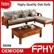 Solid Living Room Furniture Living Room Furniture Solid Wood Oak Sofa 8809 Three Fold Sofa