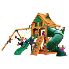 mountaineer treehouse wooden playset with fort add on and 2 slides