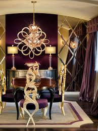Purple And Gold Bedroom Photos Hgtv Purple And Gold Dining Room With Mirrored Wall Apkza