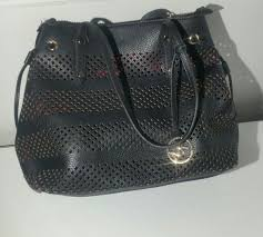 mk michael kors black leather purse