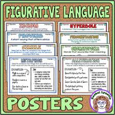 Figurative Language Posters Mini Anchor Charts For Word Walls Reference