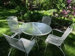 white wrought iron furniture. vintage 5 piece patio set wrought iron round glass top white table u0026 4 chairs furniture