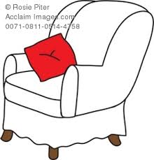 chair clipart black and white. Fine And 289x300 Royalty Free Clipart Illustration Of A White Arm Chair With Red In Black And