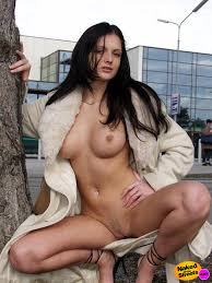 Very Sexy Brunette Girl Flashing Her Nice Boobs And Pussy From Under Her Coat