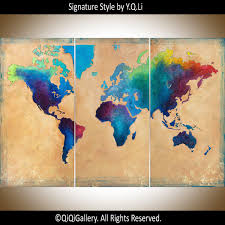 world map made to order by qiqigallery 54 x36 original paintingsold paintings accepting custom work
