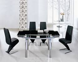 delta extending glass chrome dining table and 6 chairs