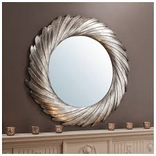 Cadwell Large Round Twisted Frame Mirror Silver 39