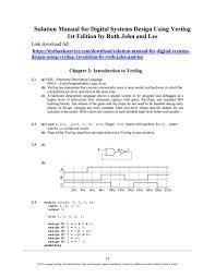 Digital Design Using Verilog Hdl Solution Manual For Digital Systems Design Using Verilog 1st