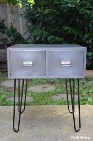 create this industrial furniture design by stripping metal cabinets and attaching hairpin legs thrift diving
