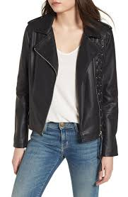 members only lace up faux leather biker jacket