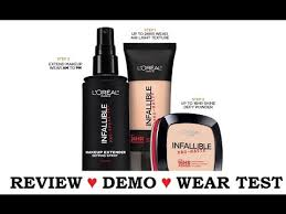 review demo wear test l oreal infallible pro matte foundation powder setting spray