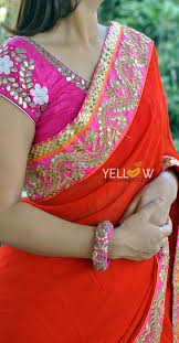 Gota Patti Saree Blouse Designs Georgette Saree With Pink And Gold Gota Work Border Coming