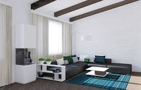 White Living Room With Black Sofa And Blue Cusions And Carpet