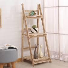 details about wooden 3 tier corner ladder shelf display unit folding book flower stand shelves