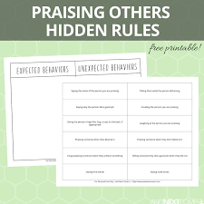 Praising Others Hidden Rules Social Skills Printable | And Next ...