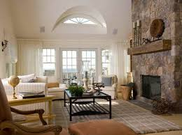 Living Room Corner Fireplace Decorating Stone Tile Corner Fireplace Yellow Wall Color Paint Ivory Abric