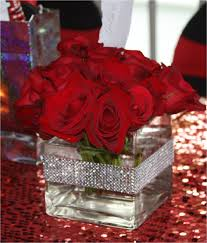 Centerpiece: Red Roses created for New York Theme Sweet 16 Floral:  narcissus florals