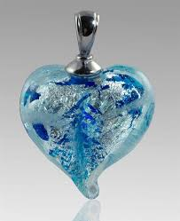 silver heart glass cremation pendant