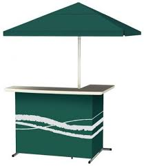 best of times classic green all weather l shaped patio bar with 6 ft umbrella
