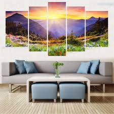 Modern Art Paintings For Living Room 5 Panel Canavs Painting Art Mountain Forest Sunshine Home