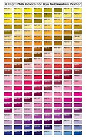 Dye Sublimation Color Chart Color Chart Pms 100 279 Qxd
