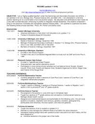 Career Objective For Teacher Resumes Science Teacher Resume Objective Education Resume Samples Template