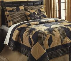 rustic country black star 7pc full queen quilt set