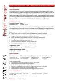 Project Manager Experience Cv Professional Resume Templates