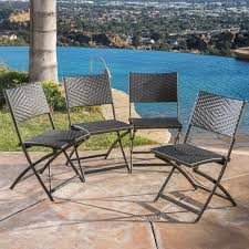 el paso outdoor brown wicker folding chair set of 4 by christopher knight home